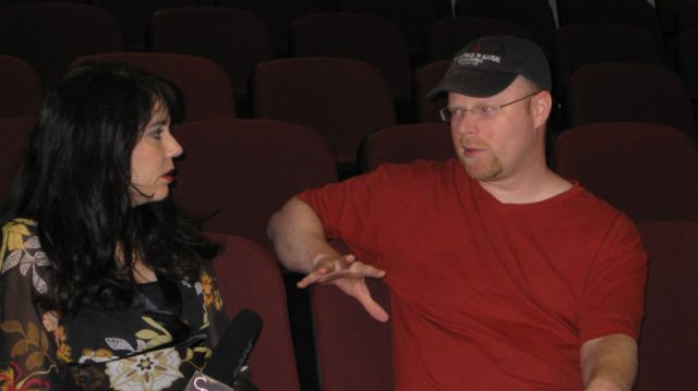 Christian Movie Connect's Cheryl Wicker talks to producer and director Christopher Shawn Shaw at the 2011 Gideon. (Photo credit: Donna Botts)