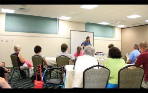 "Comedian Torry Martin addresses workshop participants about ""The Power of Networking"" at the 2011 Gideon."
