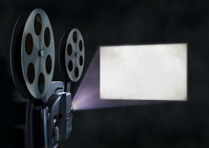 Movie projector and blank screen